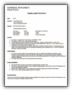 General Dynamics Quality Audiit Report